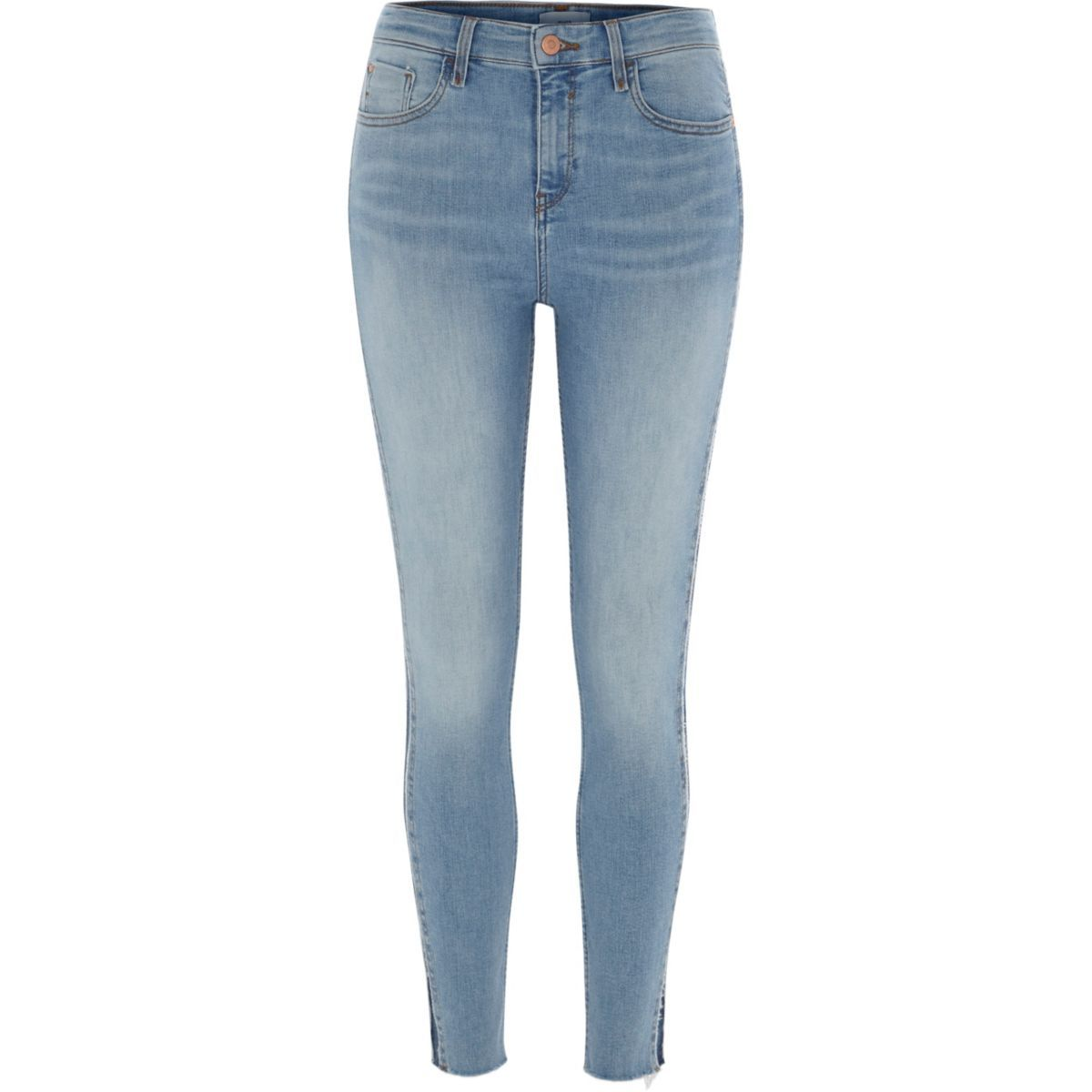 For Sale Wholesale Price Footaction Womens Mid Blue Amelie mid rise shadow panel jeans River Island zGWDkonJ