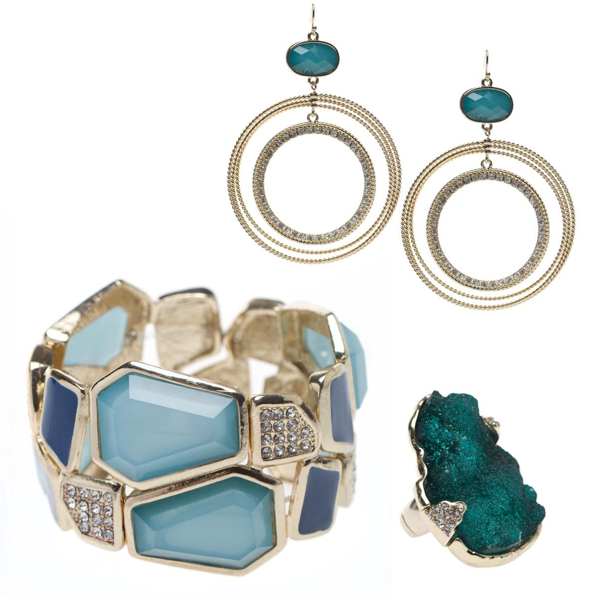 Sea Glass >> Love this earring, bracelet and ring set! $39.95 for everything!