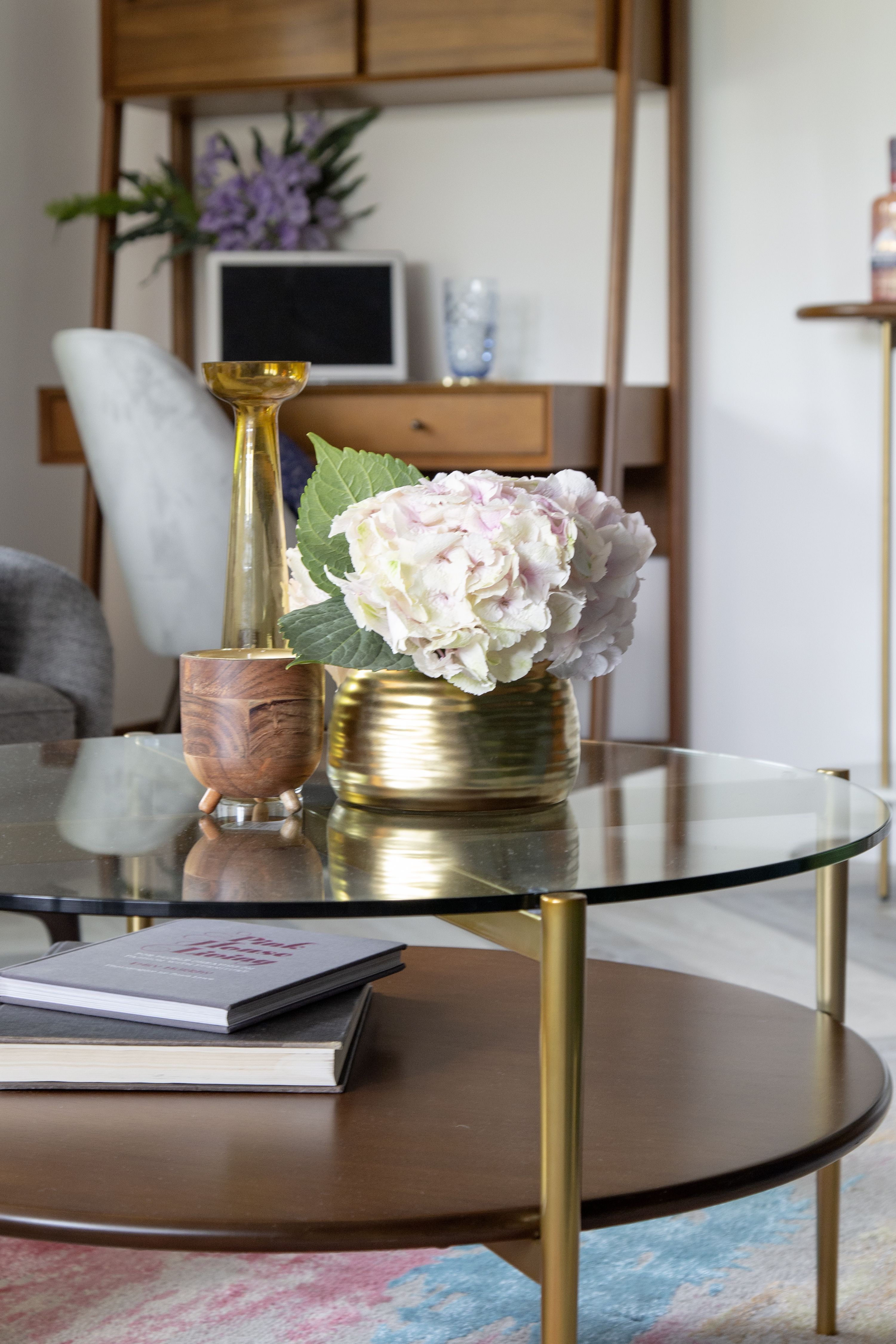 Midcentury art display round coffee table coffee table