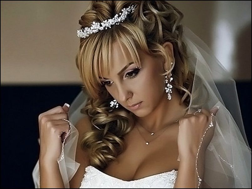Wedding Hairstyles For Long Hair Half Up With Tiara Wedding