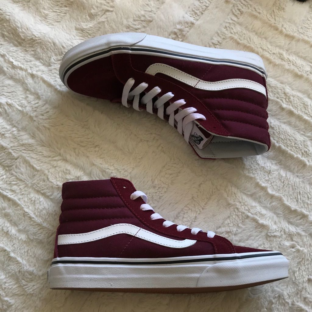 Vans Shoes | Maroon High Top Vans (Suede & Canvas) | Color
