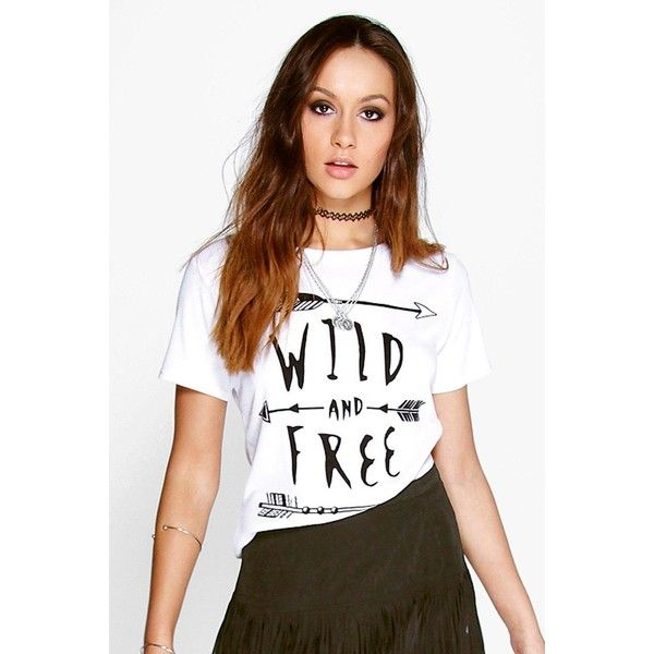 Boohoo Skye Wild + Free Slogan Ribbed T-Shirt (£11) ❤ liked on Polyvore featuring tops, t-shirts, white, long sleeve layering tee, basic white tee, long sleeve crew neck tee, basic long sleeve tee and long sleeve crop top