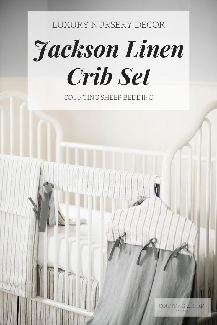Linen Crib Set, Linen Baby Bedding, Gender Neutral Baby