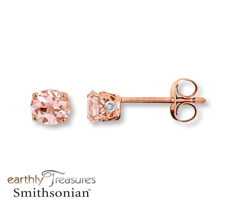 Jared Morganite Earrings Diamond Accents 10K Rose Gold