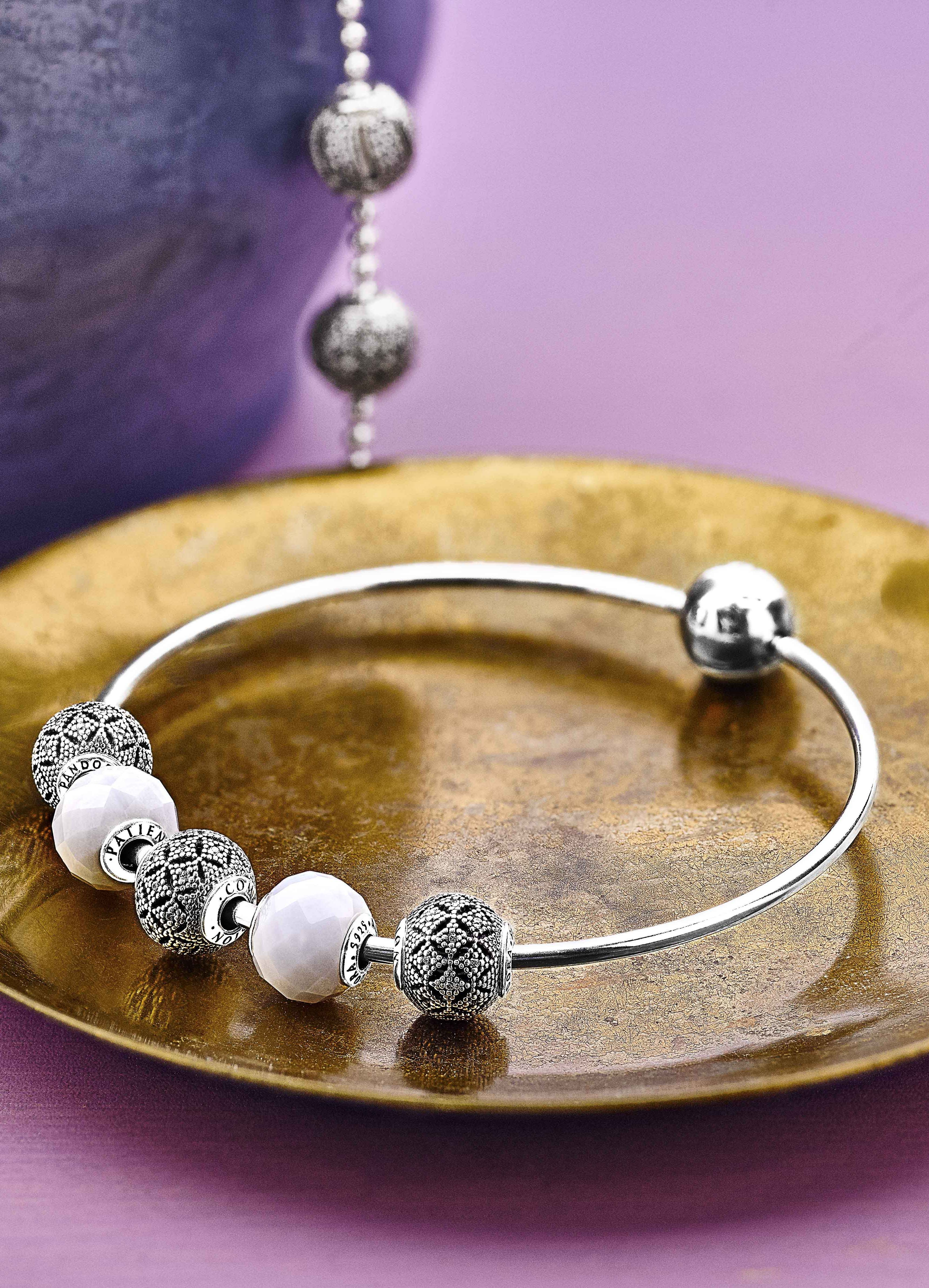 Style The Pandora Essence Collection Bangle With Silver And White Charms  For A Modern Bohemian Look