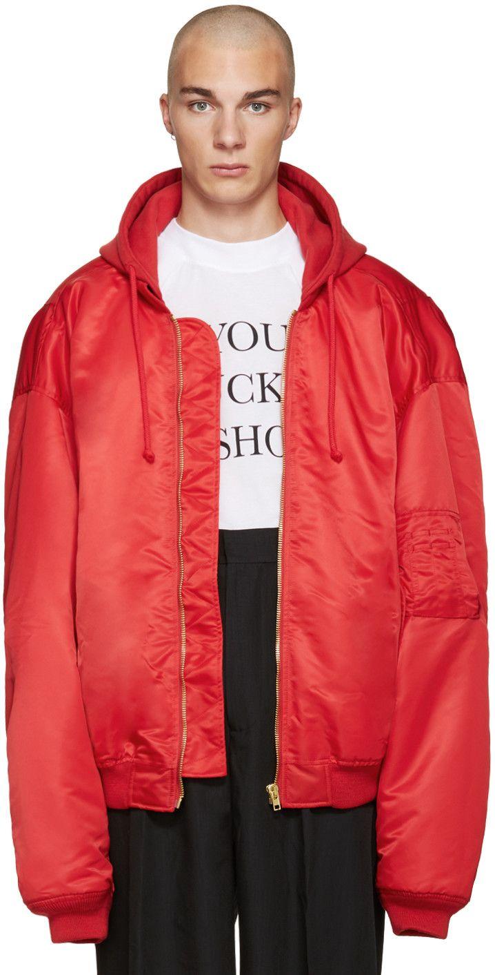 Vetements Red Oversized Bomber Jacket Oversized Bomber Jacket Black Streetwear Bomber Jacket [ 1412 x 718 Pixel ]
