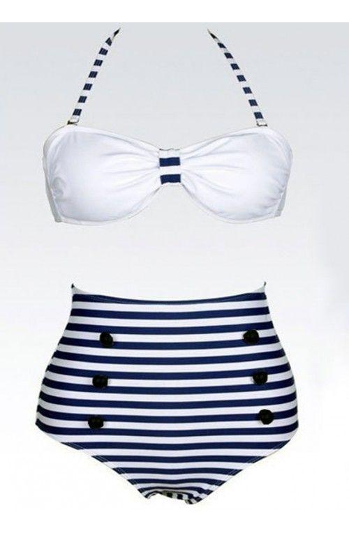 2be5e12ef7a4 ... traje de baño para las mujeres. Bikini marinero estilo pin up. Formado  por dos piezas, la parte superior, es de color blanca, La parte inferior,  ...