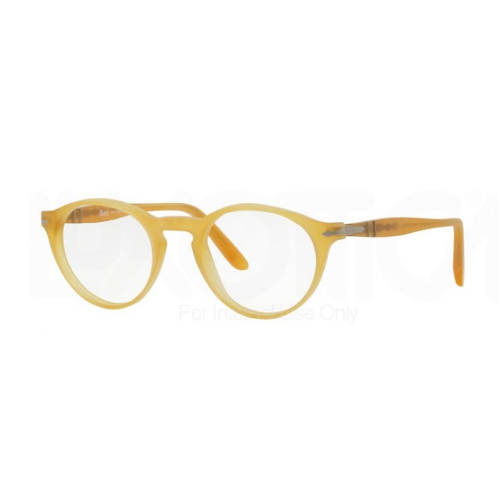 Persol 3092V 9010. Occhiale da vista Persol ideale sia per l'uomo che per la donna. Montatura interamente in celluloide di colore miele. Genere vintage con frontale con forma phantos.