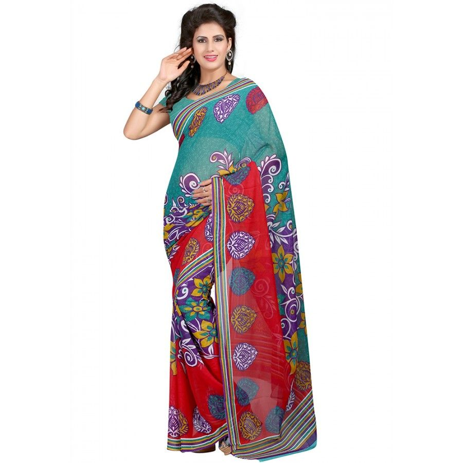 Beautiful Multi Color Faux Georgette Printed Saree at just Rs.430/- on www.vendorvilla.com. Cash on Delivery, Easy Returns, Lowest Price.
