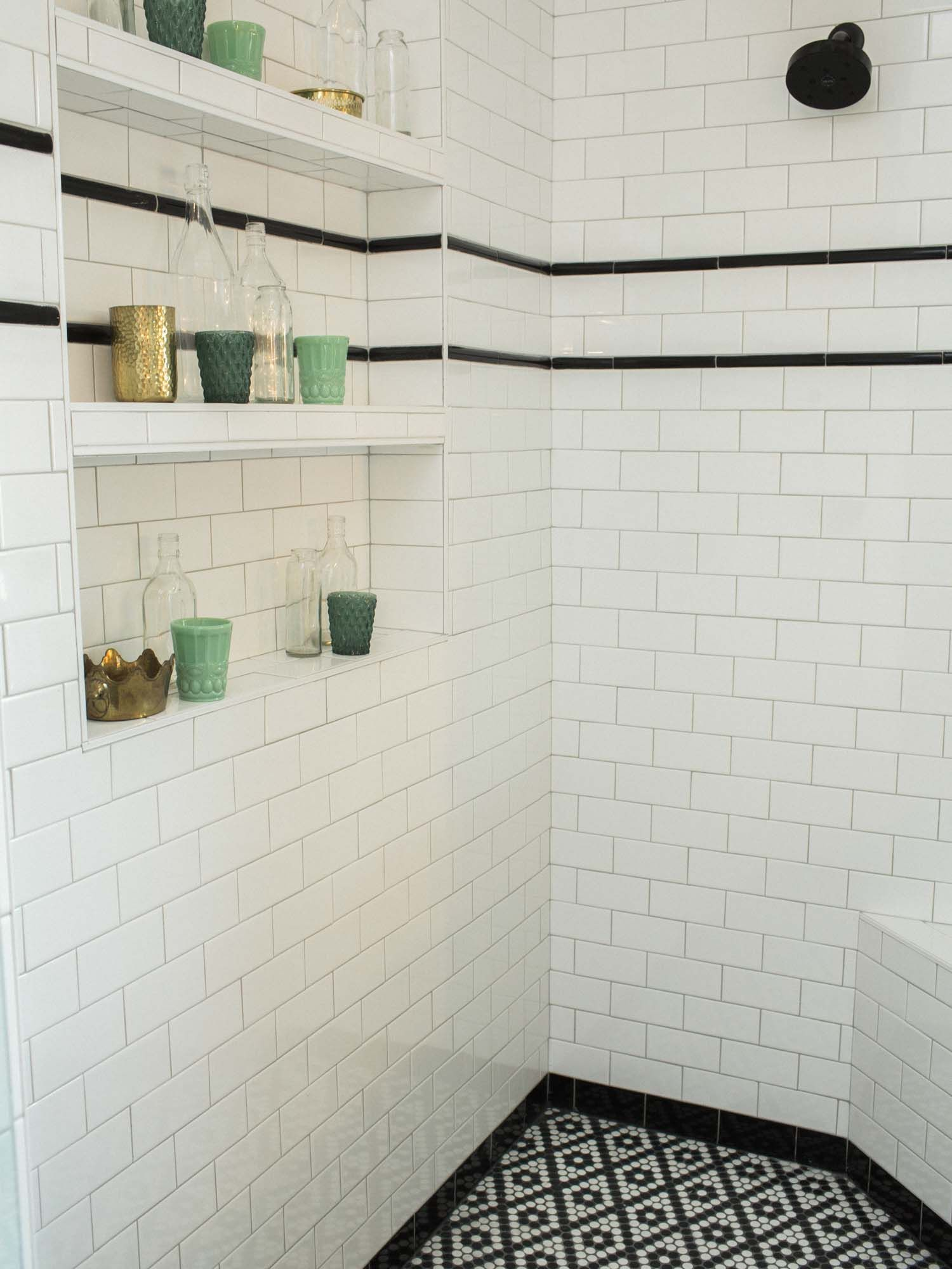 White Subway Tile With Black Stripe Shower Inspiration With Shelves White Bathroom Tiles White Tile Shower White Subway Tile Shower
