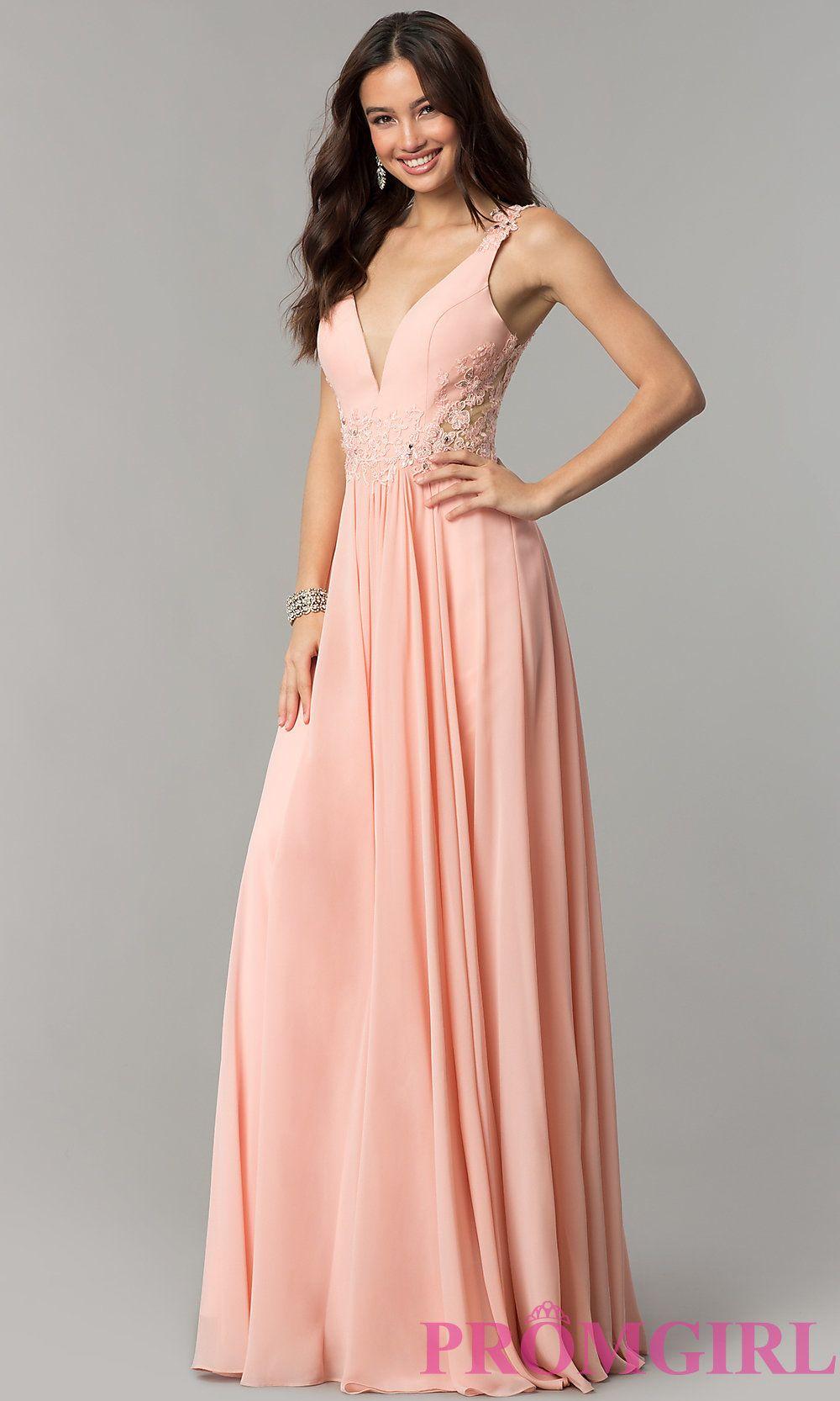 V-Neck Lace-Applique Long Chiffon Prom Dress -PromGirl