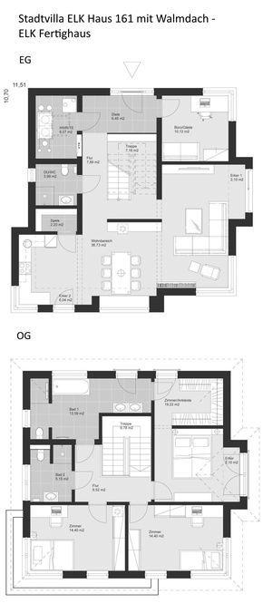Grundriss Stadtvilla modern mit Walmdach Architektur 5