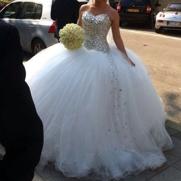 628c728079a0 Full sparkled bodice with huge tulle skirt with dripping rhinestone and  sparkles