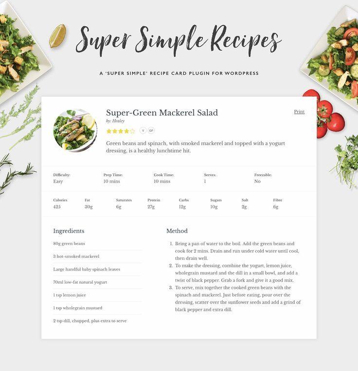 Super Simple Recipes Recipe Cards Recipe Cards Recipe Template Blog Themes Wordpress