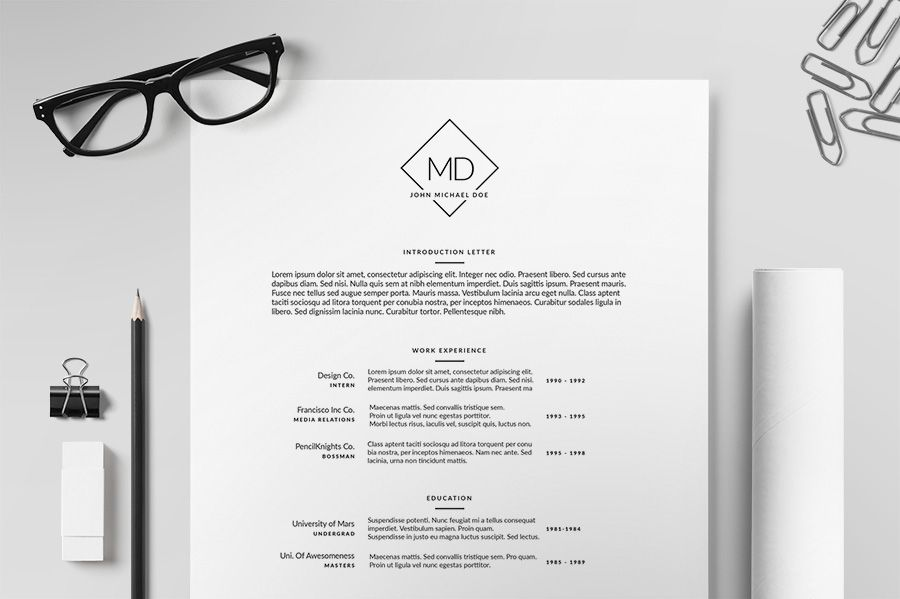 Resume/CV Template II by Print Forge on Creative Market CV