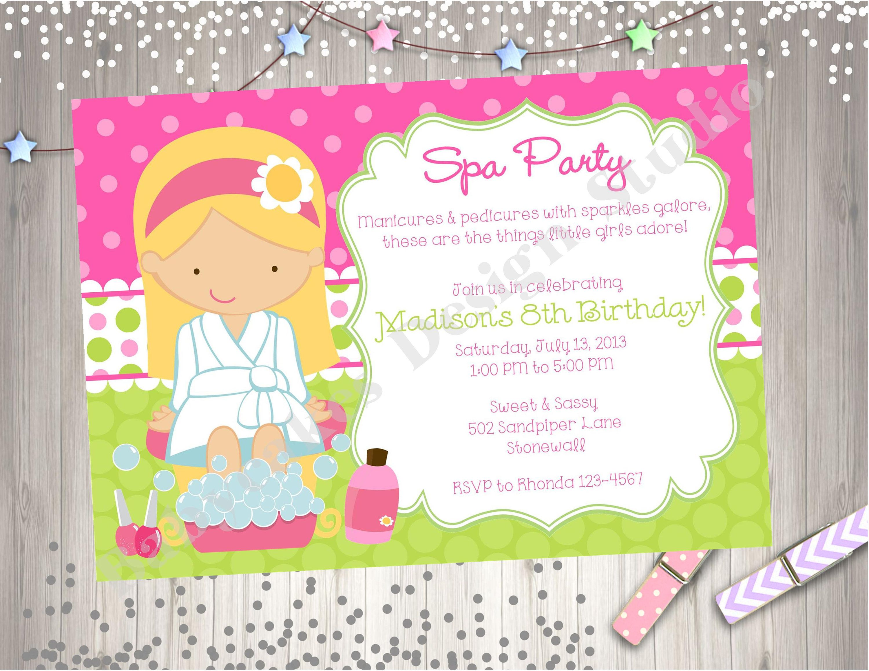 Spa Party Birthday Invitation Invite Spa Birthday Party Printable ...