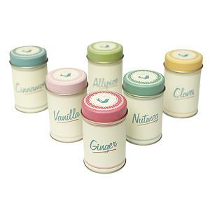 dotcomgiftshop SET OF 6 SPICE TINS PANTRY DESIGN, ASSORTED COLOURS SPICE TINS | eBay
