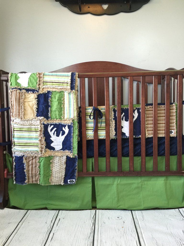 Woodland Baby Crib Bedding for Boys - Hunting Crib Set - Navy ... : hunting themed quilt patterns - Adamdwight.com