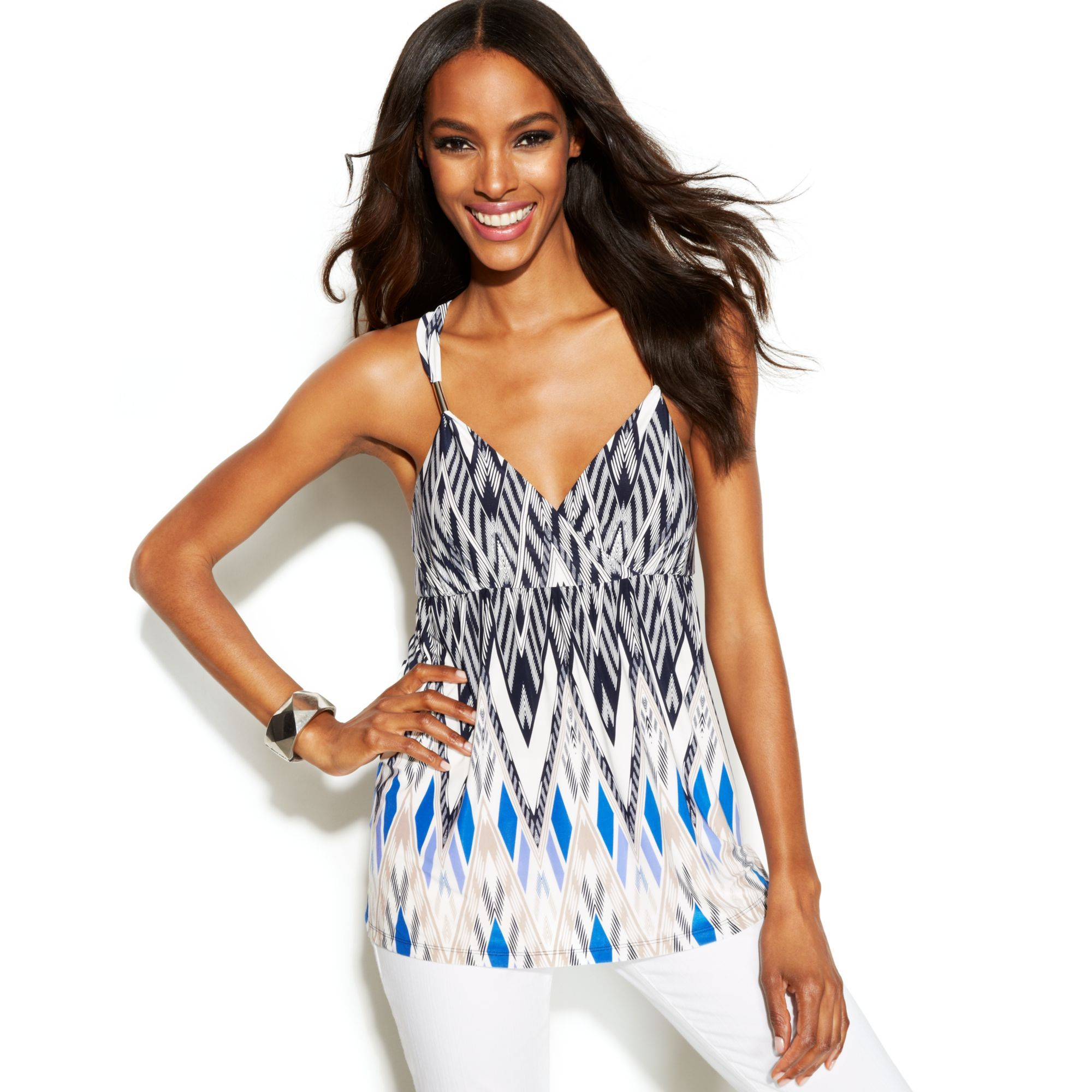 INC INTERNATIONAL CONCEPTS Multicolor tops sleeveless tops_  http://www.lyst.com/clothing/inc-international-concepts-tops-sleeveless-diamond-chevron/
