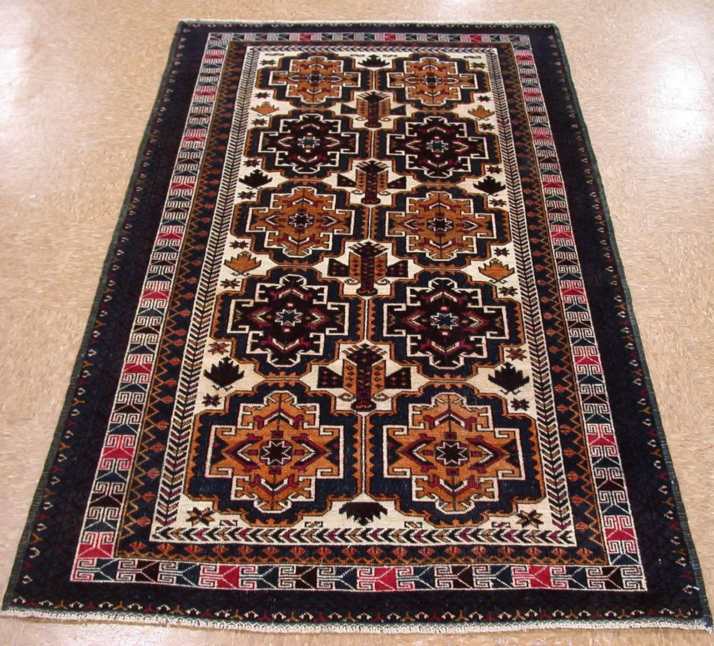 4 X 7 Baluch Tribal Hand Knotted Wool Traditional Ivory Navy New Oriental Rug Oriental Rug Rugs Oriental