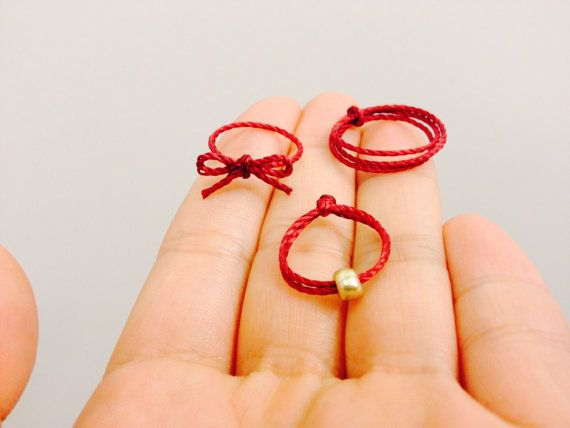 Red string of fate simple ring band ribbon ring kabbalah Allergy