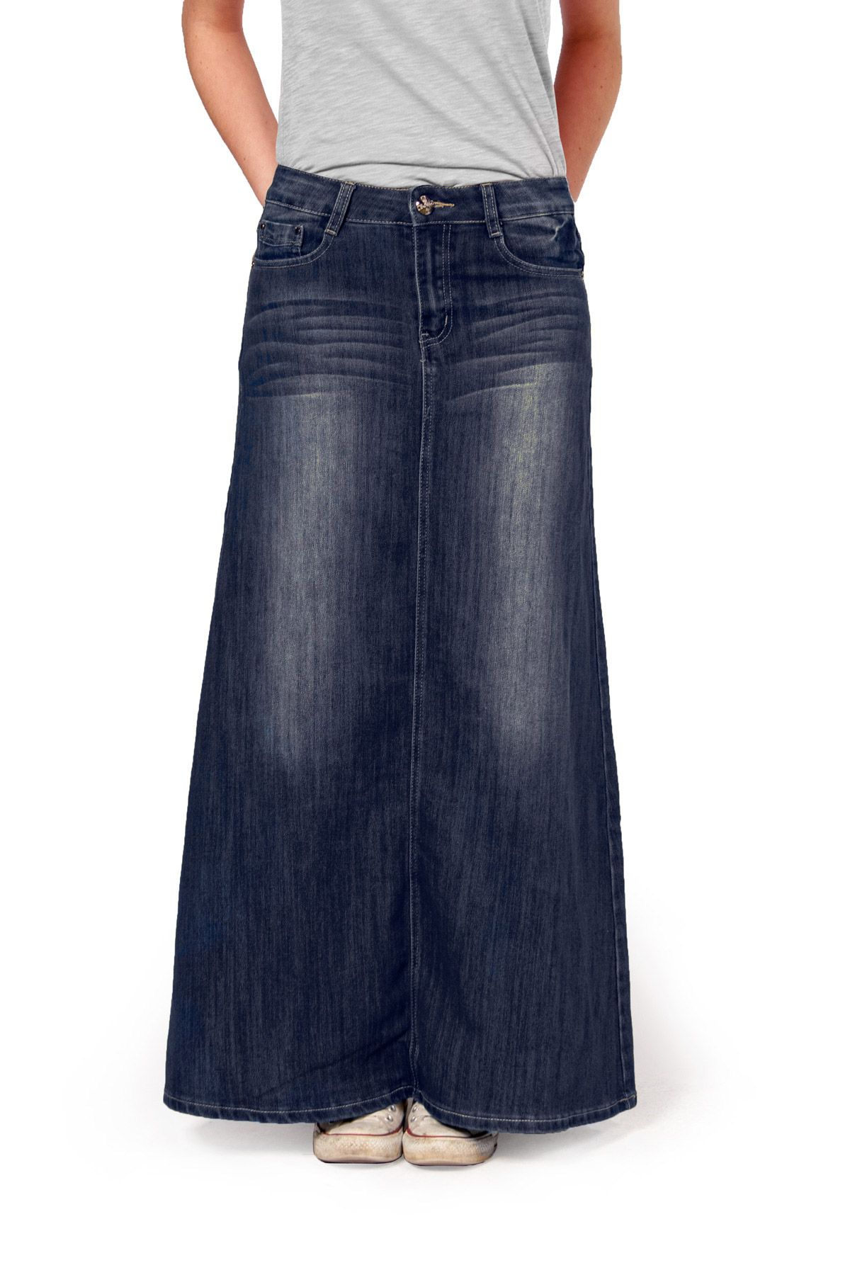 fd179145d9e26 Maxi style dark wash modest denim skirt. Lovely long jeans skirt in soft  medium weight denim.