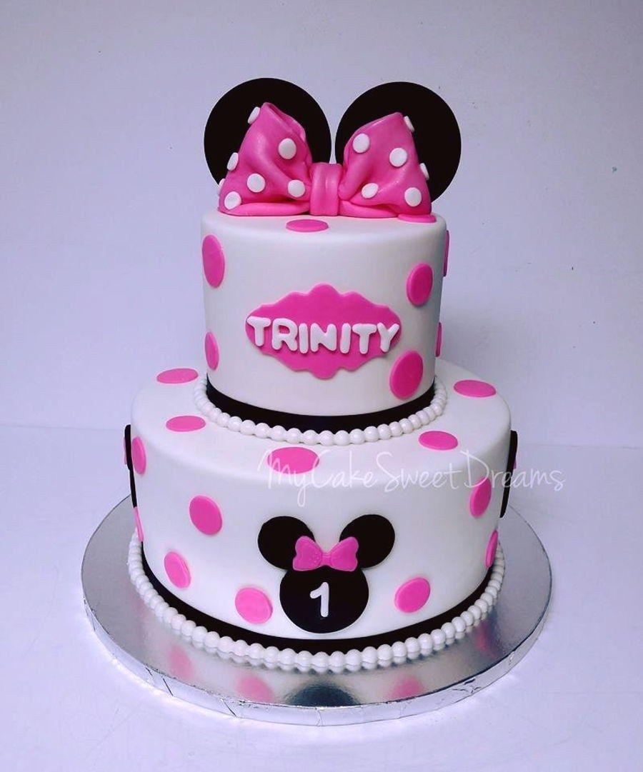 Wondrous Minnie Mouse Cakes 1St Birthday Minnie Mouse 1St Birthday Cake Funny Birthday Cards Online Ioscodamsfinfo