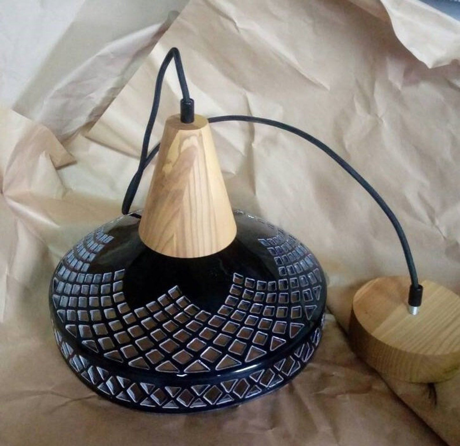 Ceramic pendant light mid century modern lamp farmhouse