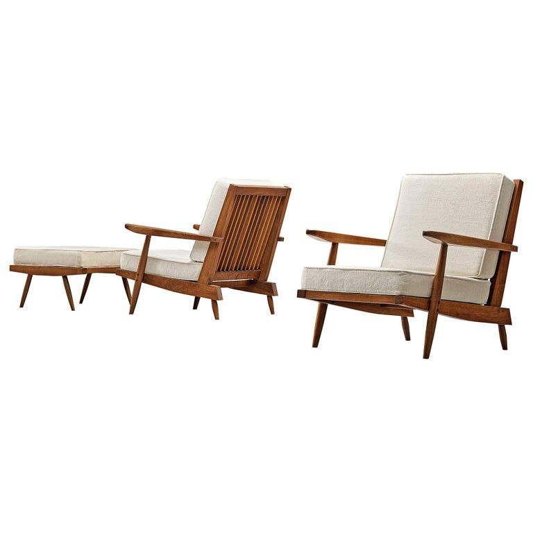 George Nakashima Spindleback Armchairs With Ottoman In 2020