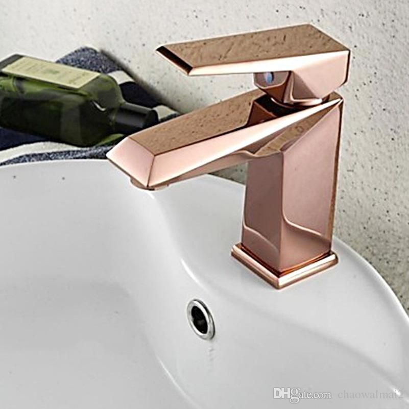 2019 Rose Gold Bathroom Faucet Deck Mounted Bathroom Sink Cold And