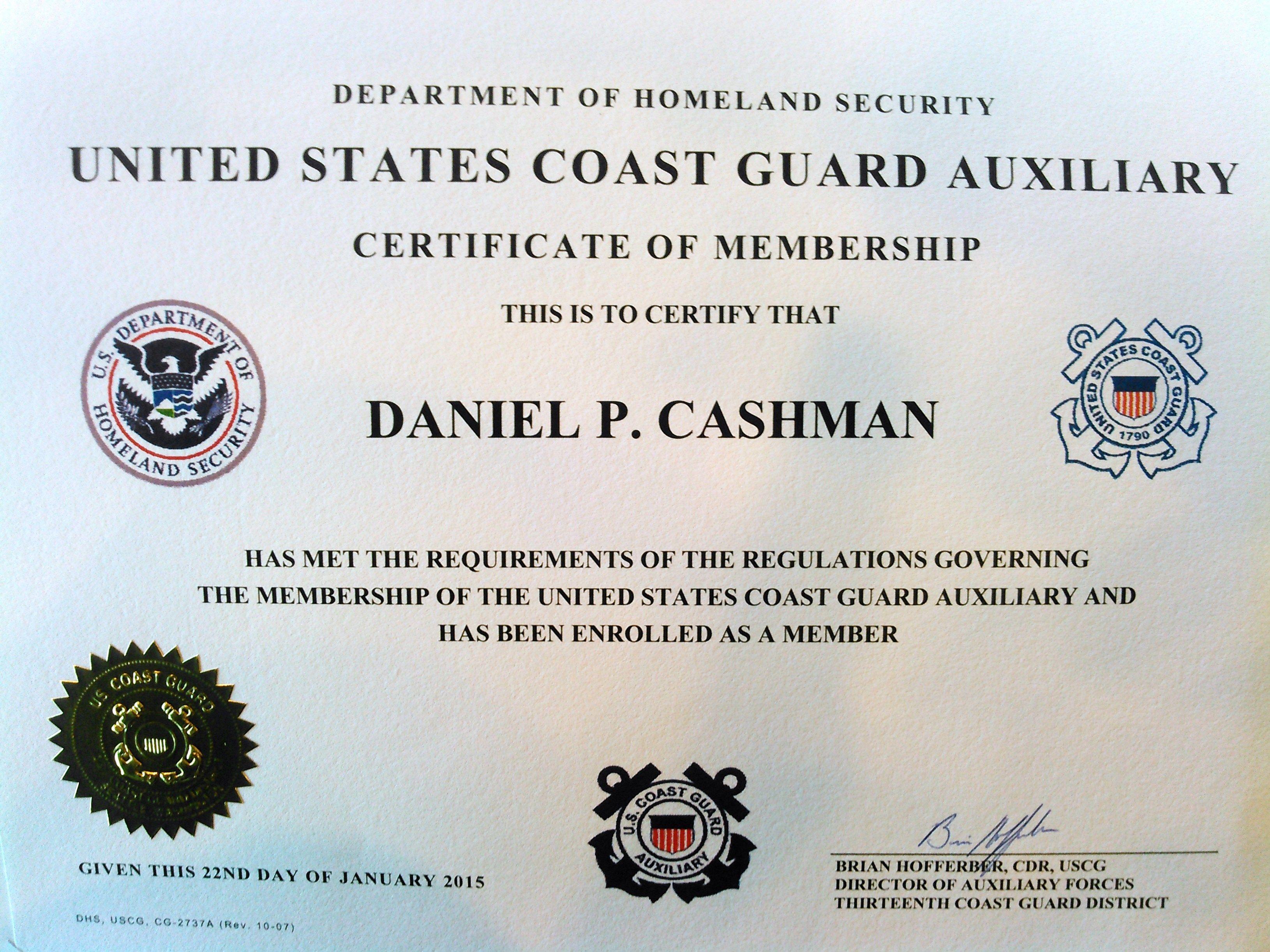Coast Guard Auxiliary Certificate Of Membership 22 Jan 2015 Cg Aux