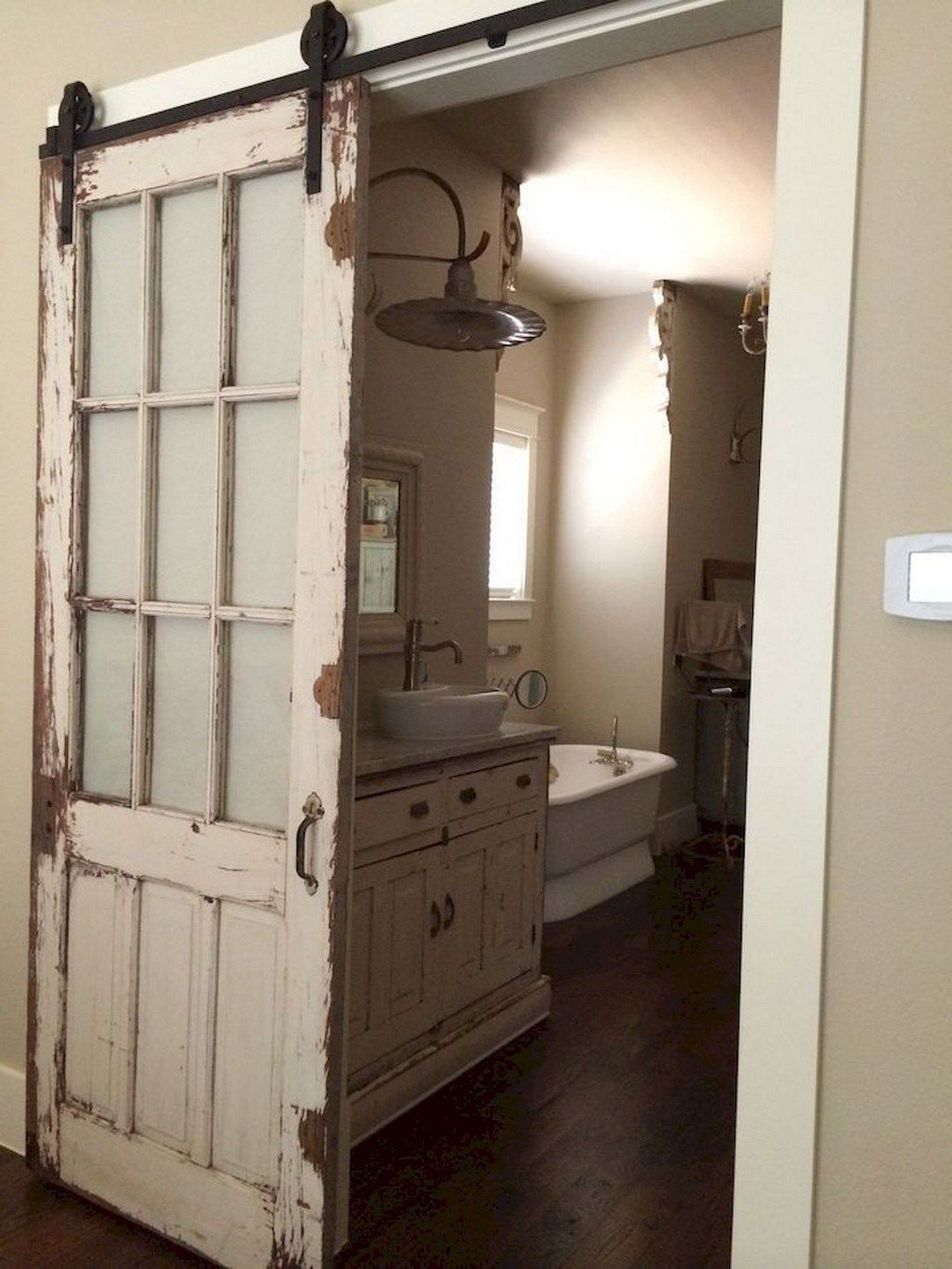 26 a burned pine wood barn door with mirror