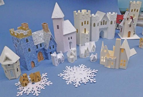 Miniature glitter houses doll house dolls wood