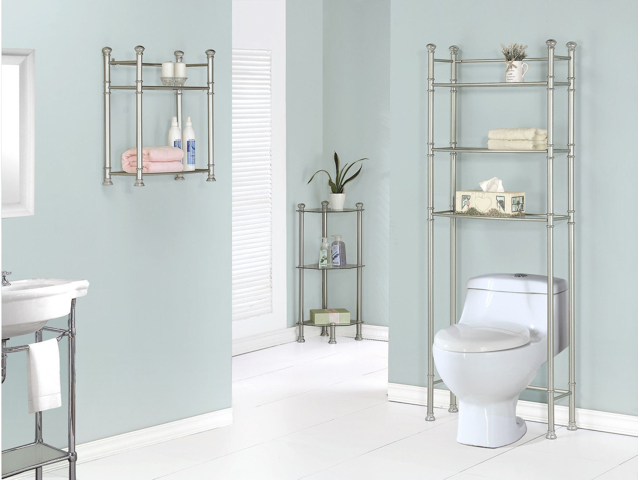 """Bathroom Accent - 26""""H / Nickel Metal With Tempered Glass"""