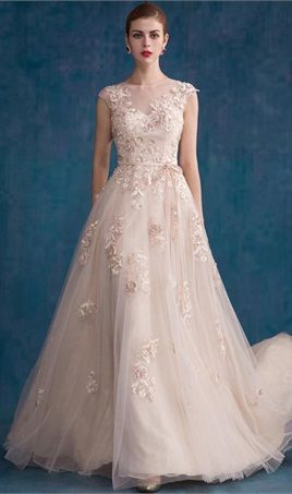 Sheer Mesh Top Prom Dresses Lace Applique Flower Beaded Floor Length Elegant  Evening Dresses 1ad61843f93e