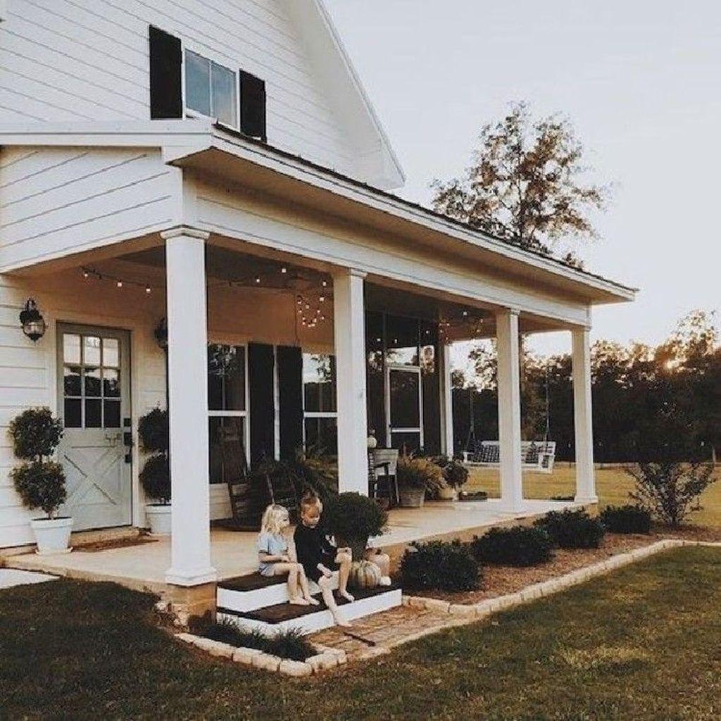40 Incredible Farmhouse Front Porch Design Ideas Page 18 Fathinah Decor Rustic House Farmhouse Front Porches House Exterior