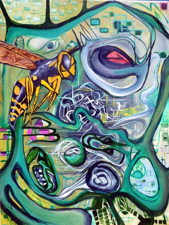 The Hive  18 x 24 original acrylic painting by by larrycalabrese, $130.00