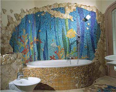 aquarium mosaic in bathroom.   mosaic, mosaic murals
