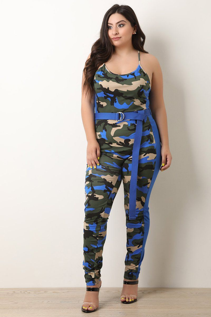 577eb97601 Camouflage Side Stripe Belted Jumpsuit in 2019