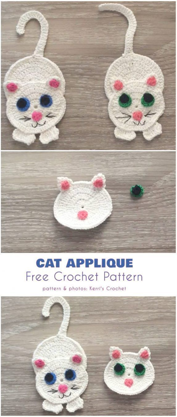 Easy Cat Applique Free Crochet Tutorial in English