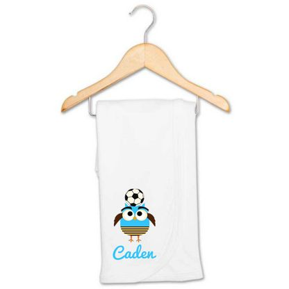 Soccer Owl Baby Name Receiving Blanket | Personalised Baby Products | Word On Baby