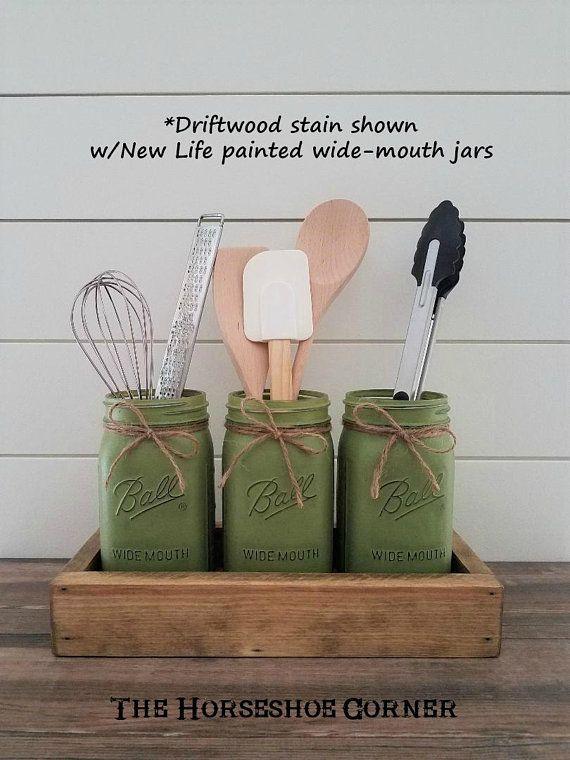 Kitchen Utensil Holder, Mason Jar Utensil Holder in a Box, Rustic Utensil Holder, Farmhouse Kitchen