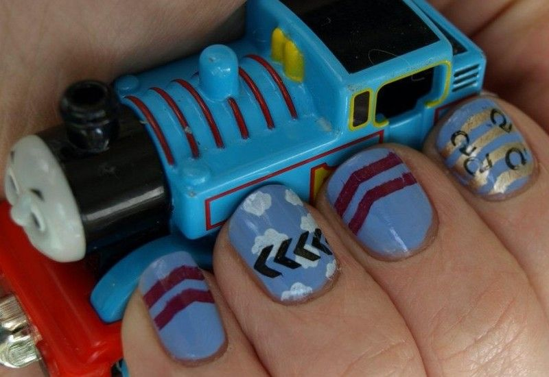 Thomas The Tank Engine Nail Stamping Manicure Thomas Birthday