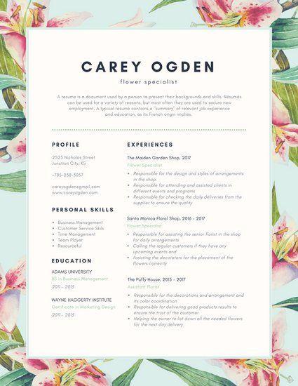 Green Florals Creative Resume Creative Resume Templates Creative Resume Resume Design Creative