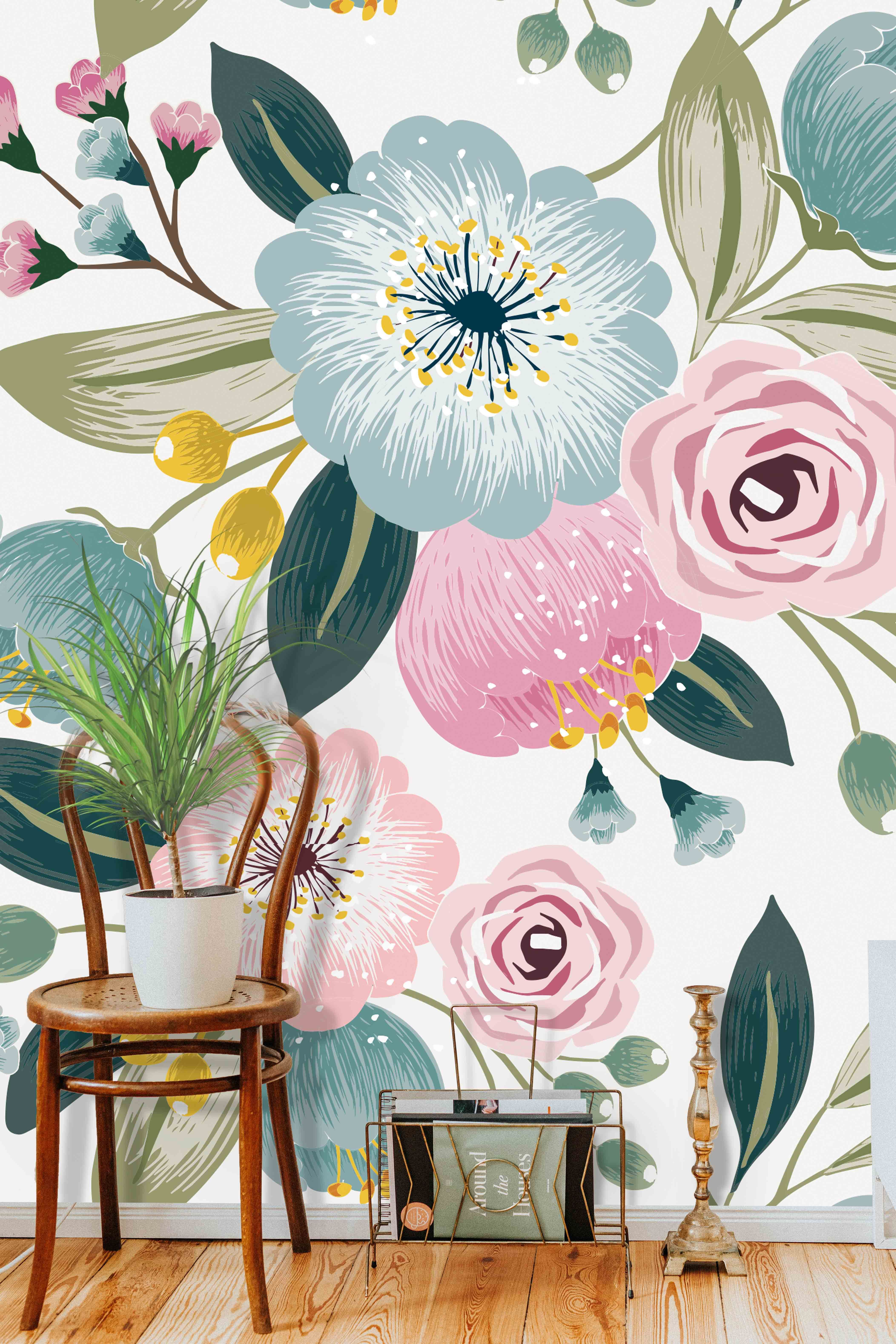 Floral Illustration Pattern Mural Removable Self