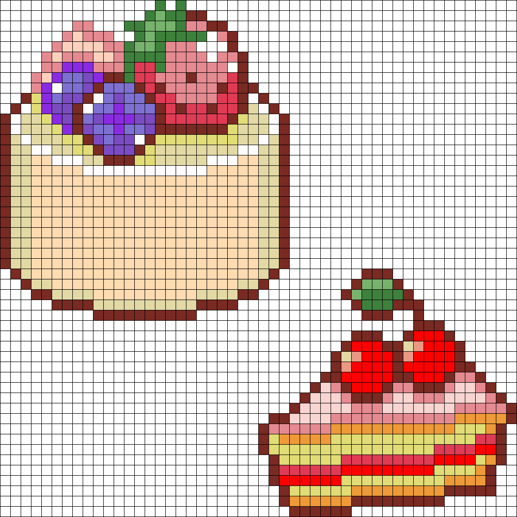 Round Cake And Cherry Cake perler bead pattern | foods and drinks ...