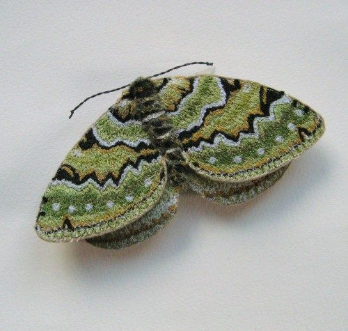 Green Carpet Moth 015 Moth Textile Art Soft Sculpture