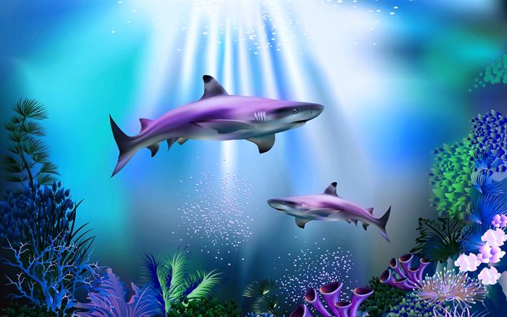 herunterladen hintergrundbild haie meer fisch