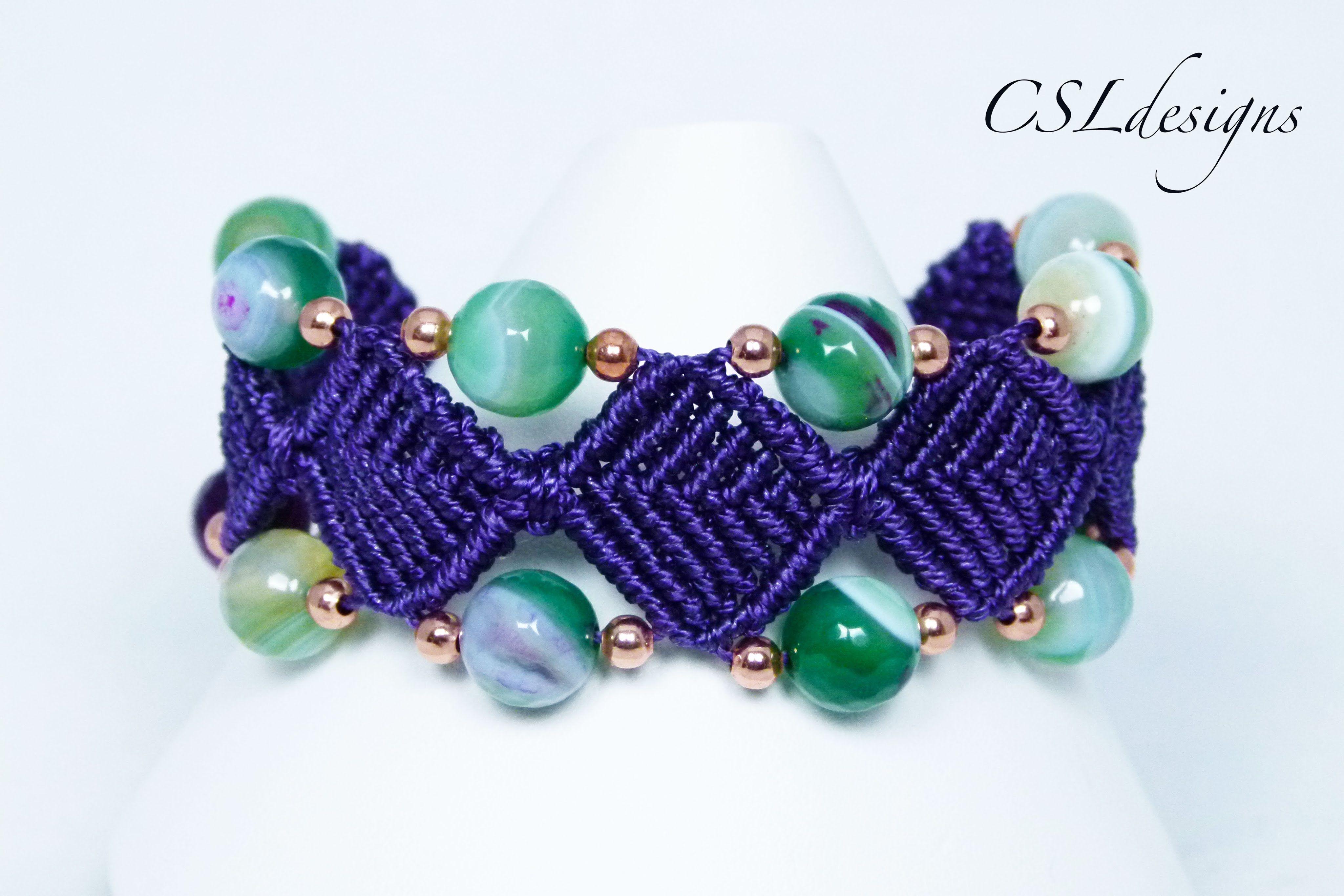 Beaded diamonds macrame bracelet