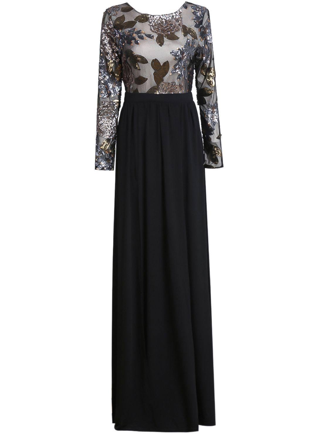 Vestido maxi bordado manga larganegro hijab and outfits